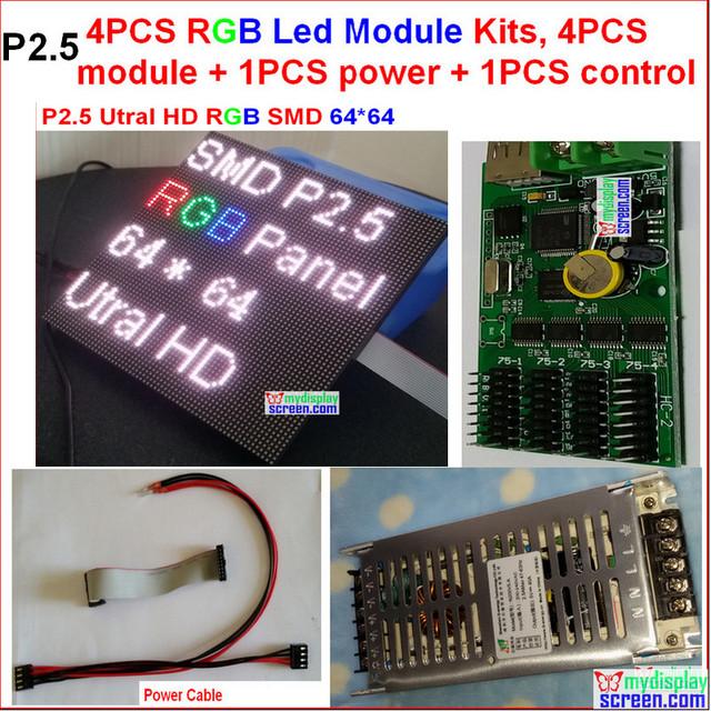 2.5 mm led kits de módulos, 4 pcs módulo + 1 poder + 1 controlador + cabo de alimentação + cabos de dados