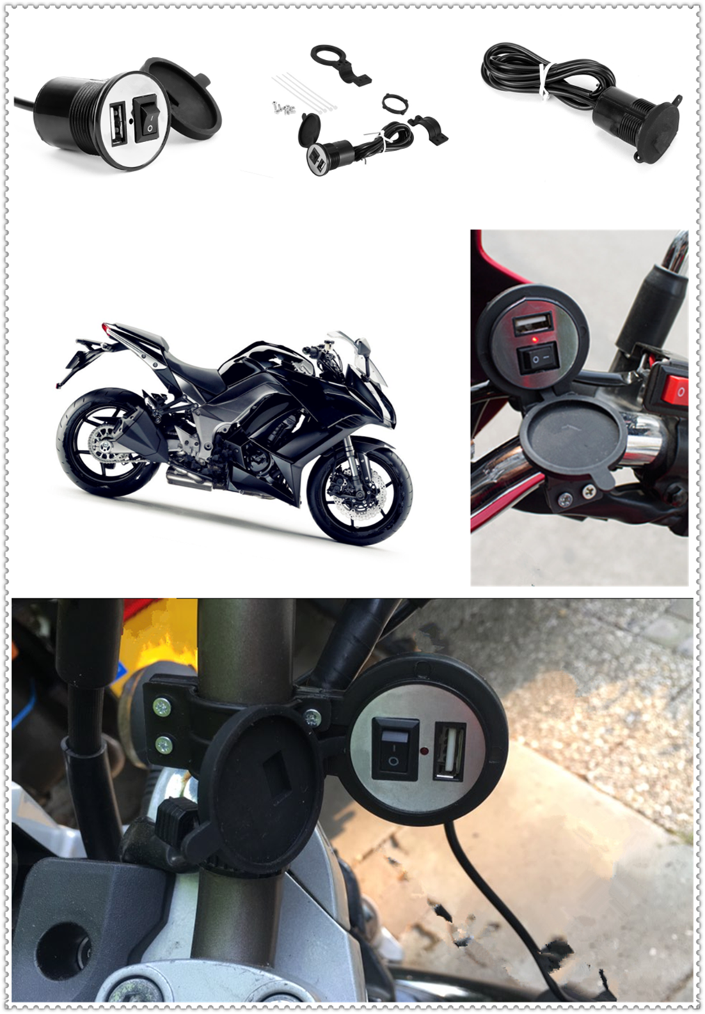12-24V Motorcycle USB Charger Power Adapter Waterproof For YAMAHA YZF 600R Thundercat R1 R6 R25 R3 FZ1 FAZER FZS 1000S