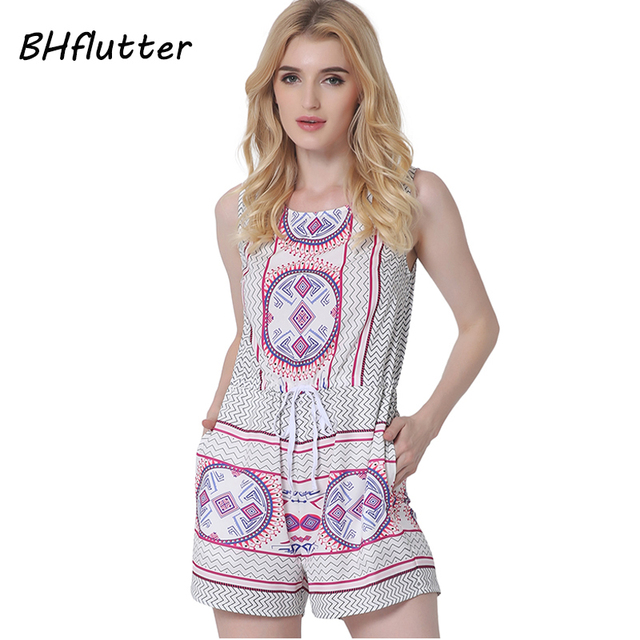 BHflutter Vintage Print Sleeveless Playsuits Women Casual Summer Rompers  2017 New Lady Boho Style Beach Overalls Jumpsuits