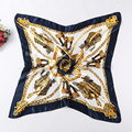 Painting Womens Square Twill Silk Scarves Classical Carriage Chain Brand For Ladies Silk Scarf 90*90cm