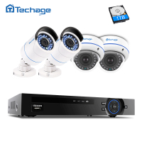 Techage 4CH 1080P POE NVR 2 0MP CCTV System Vandalproof Dome IP Indoor Outdoor Camera P2P