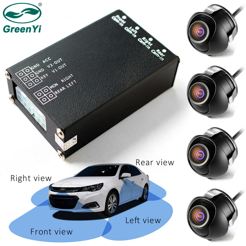 GreenYi 4 Channels Video Control Car Image Switch Combiner Box Front Rear Right Left View 4