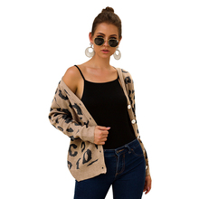 Winter Sweater Three-color Leopard Print Long-sleeved Cardigan Womens Abrigos Mujer Invierno 2019 Clothes Women