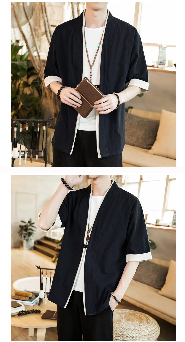 2019 Men Cotton Linen Jacket China Style Kongfu Coat Male Loose Kimono Cardigan Overcoat Open Stitch Coat Mens Windbreaker 5XL