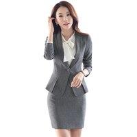 Women Gray Blazer Set Two pieces Suits Spring Autumn Ladies Formal Skirt Suit Office Uniform Style Female Business Suit For Work