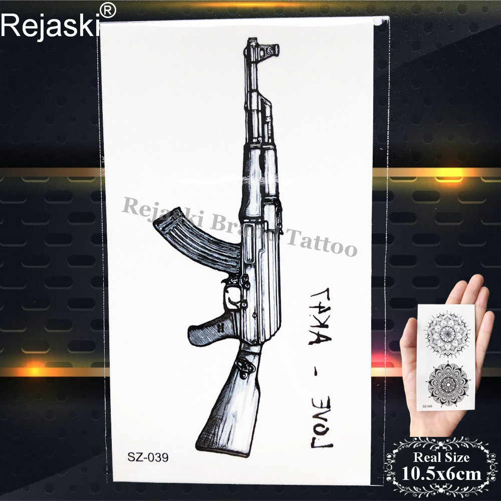 BATTLEGROUNDS PUBG Pistola Nera Autoadesivo Del Tatuaggio Temporaneo Corpo Delle Donne Braccio Del Tatuaggio Impermeabile Uomini di AK Soldato Falso FAI DA TE Tatuaggi Arma AWM