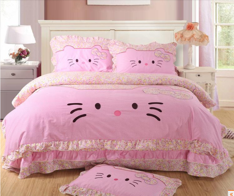 Lace Princess Bed Skirt Hello Kitty Queen Size Bedding 4pc