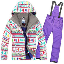 2015 womens ski suit ladies snowboarding suit skiwear colourful diamonds jacket + purple pants waterproof breathable 7colors