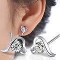 2016 New Fashion Crystal Silver Plated Zirconia Earring Heart Shape Wedding Stud Earrings For Women Bijoux Jewelry