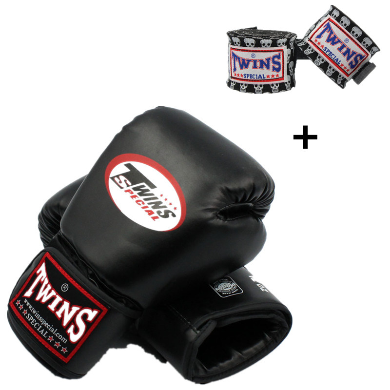8-14 OZ Twins Boxing gloves with Boxing bandage MMA Muay Thai Kick Fighting Gloves wraps target luvas gants boxe adulte wesing aiba approved boxing gloves 12oz competition mma training muay thai kickboxing sanda boxer gloves red blue