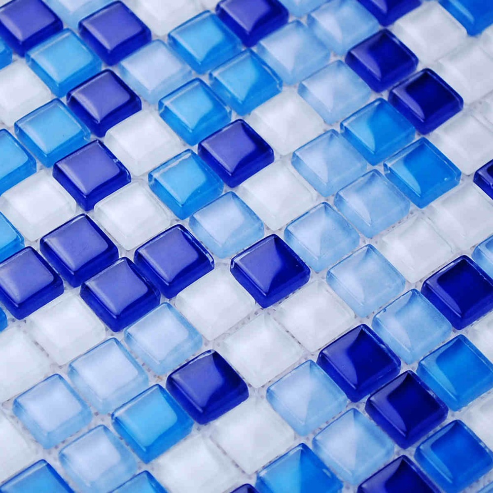 Mosaic tiles bathroom - Mini Square Blue Color Zone Glass Mosaic Tiles For Kitchen Backsplash Tile Bathroom Shower Fireplace Wall Mosaic
