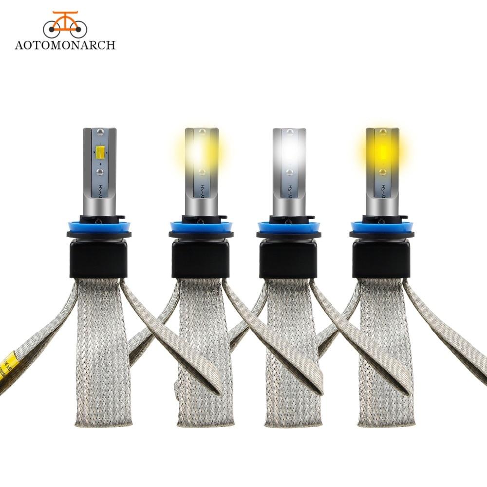 цена на AOTOMONARCH 2pcs 3 Colors H4 LED H7 Light Bulb For Auto H4 H1 H11 9005 H1 LED Car Headlight H7 12V 72W Super Bright Universal