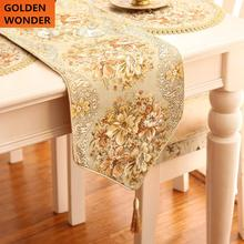 European Luxury Embroider Gold Bed Flag Table Runner Modern Sequin Tablecloth Coffee Dining