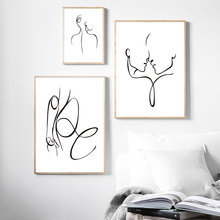 Abstract Ink Lines Poster Canvas Painting For Living Room Modern Picture Nordic Love Pictures Unframed