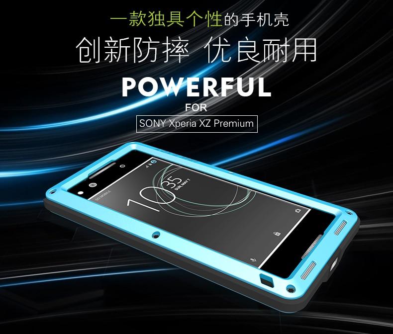 imágenes para Amor Mei Potente Caso Para Sony Xperia XZ Premium prueba de Choques Impermeable De Aluminio Del Caso para Xperia XZP envío de Vidrio Templado