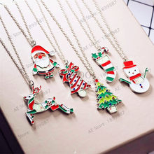 1pcs/bag Children Toy Necklaces Kids Boy Girl Gifts Snowman Christmas Tree Santa Claus Necklace Random color(China)