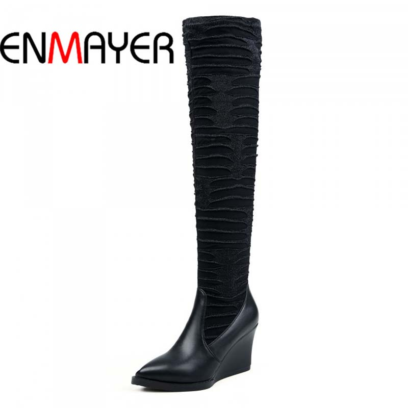 ФОТО ENMAYER Sexy Pointed Toe Wedges Over-the-Knee Boots For Women New Full Grain Leather Fashion Zip High Winter Long Platform Shoes