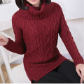 Yichaoyiliang Winter Wine Red Thickened WarmTurtleneck Pullovers Sweaters for Women Long Sleeve Brown White Knitting Undershirt