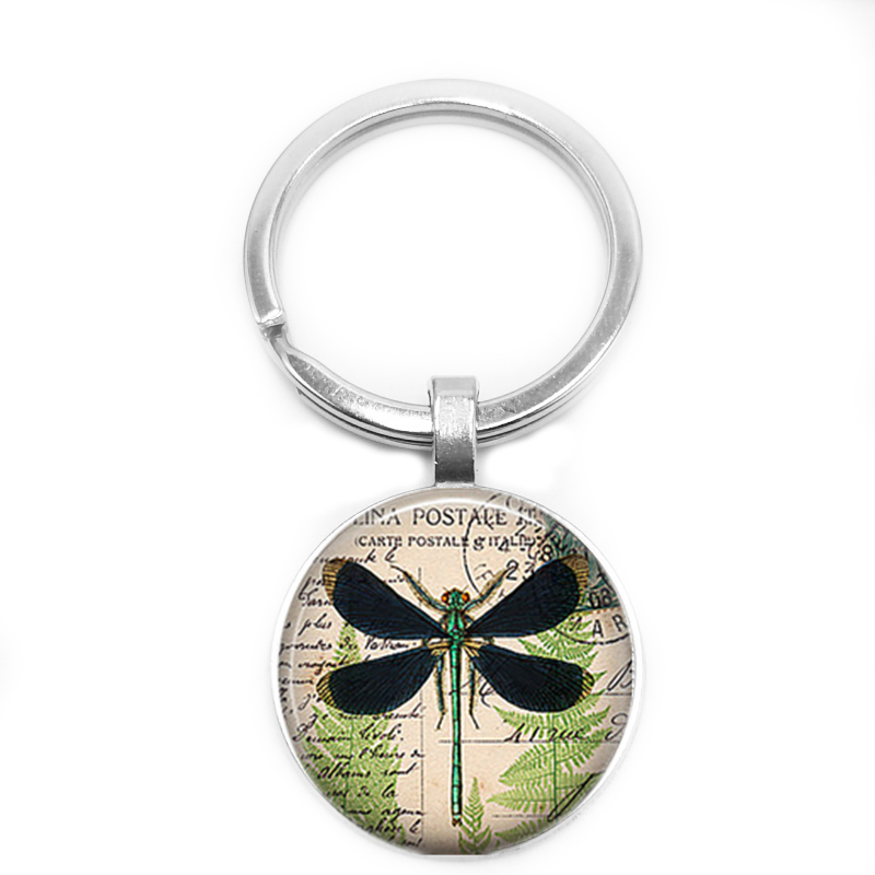 2018 New Glass Dome Dragonfly DIY Handmade Personality Keychain Welcome To Map Private Custom in Key Chains from Jewelry Accessories