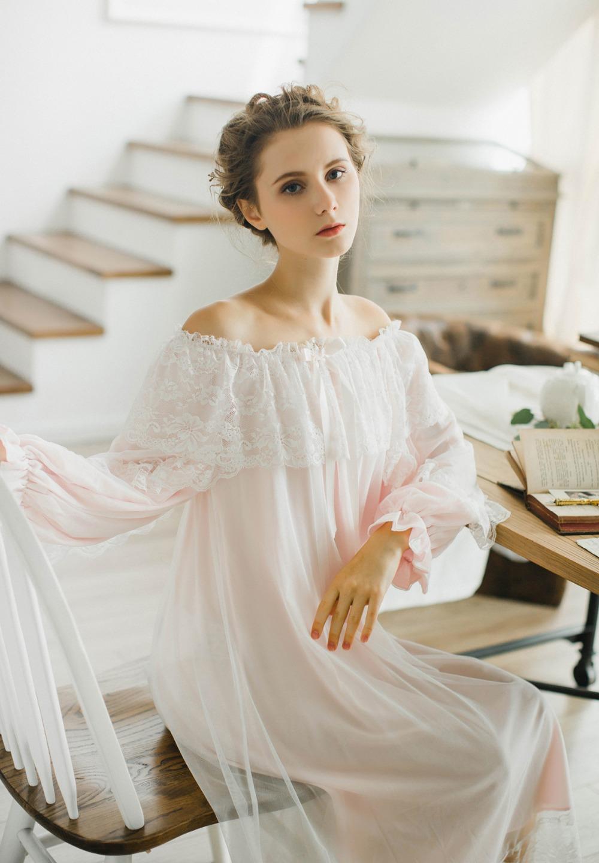 4c4c7db070b Осень 2017 г. хлопковая ночная рубашка для женщин с длинными рукавами  принцесса Кнопка Ночная рубашка-кардиган дворец элегантный снаUSD  32.93 piece