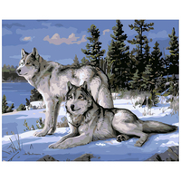 Hot Selling Two Wolfs DIY Digital Oil Painting Home Decor Animal Painting Drawing By Numbers On