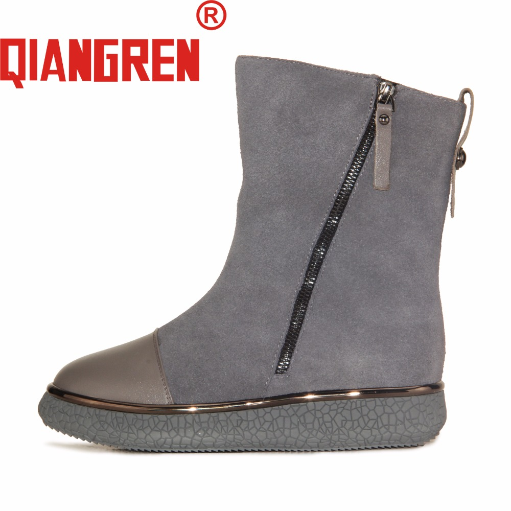 QIANGREN High Grade Quality Military Factory-direct Women's Winter Genuine Leather Wool Rubber Snow Boots Outdoors Street Botas new premium promotional yu europe d41x d341x flange rubber seal butterfly valves factory direct quality assurance