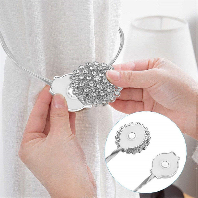 1 Pair Magnetic Crystal Curtain Tiebacks Flower Shaped Curtains Buckle Drapery Holdback Clip Holders L