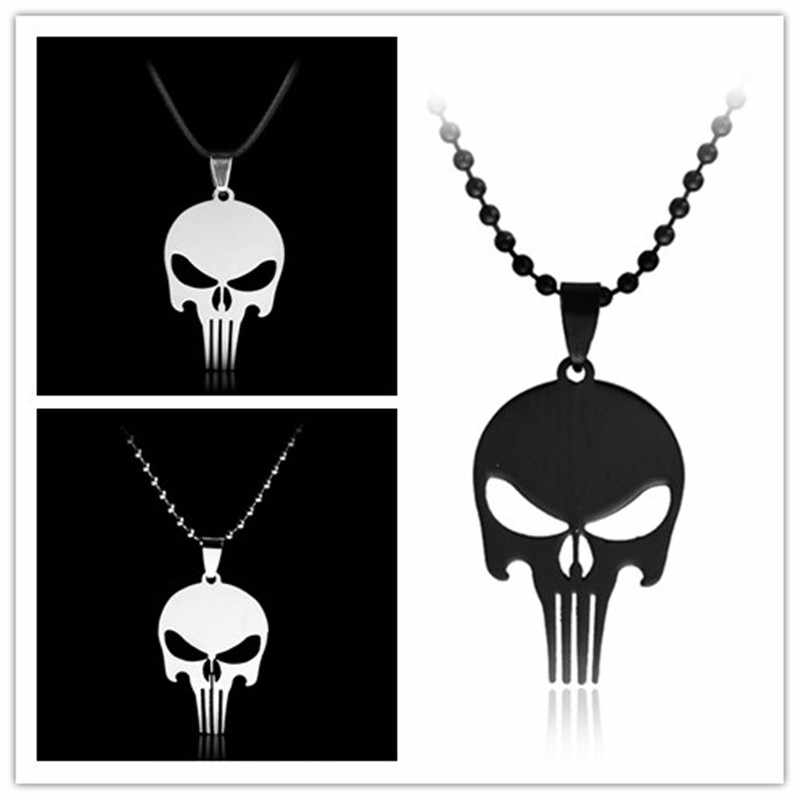The Punisher Skull pendant necklace punishing stainless steel simple necklace with beads chain for women men friends gifts