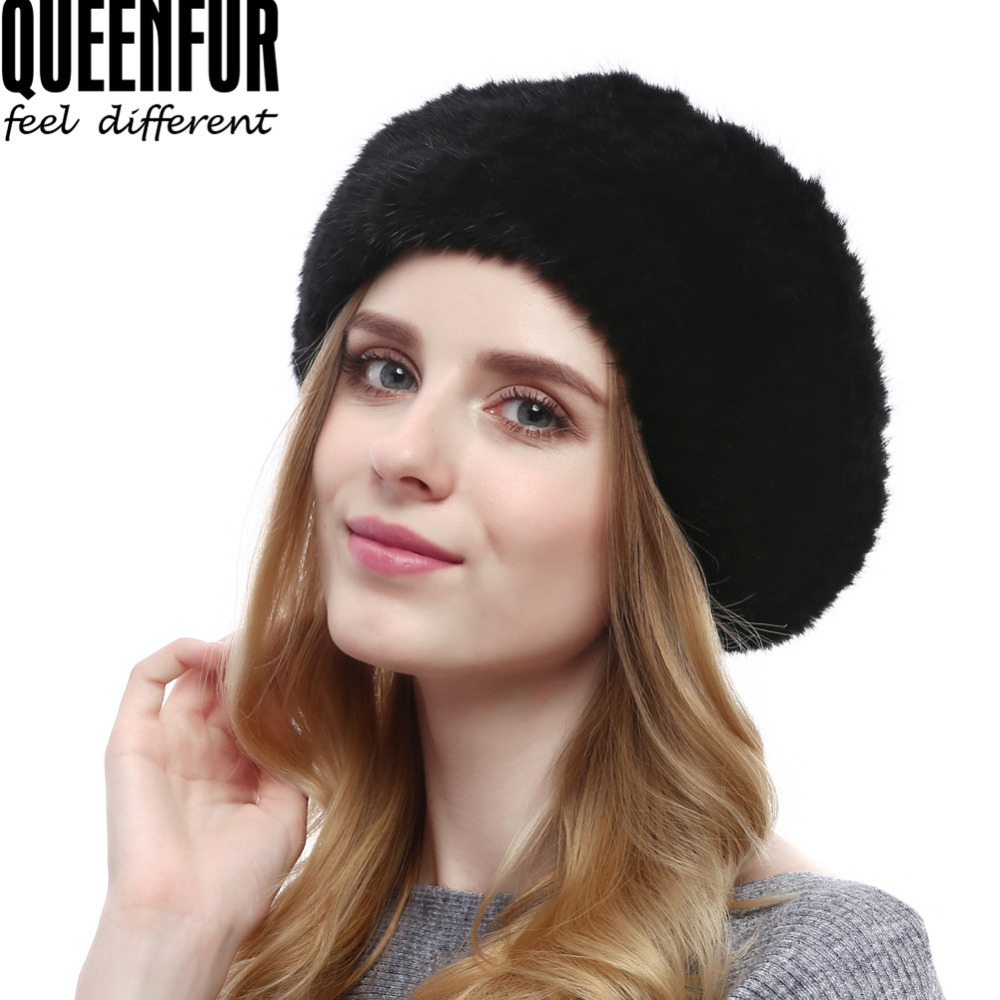 f9885008592 QUEENFUR Women s Mink Fur Beret Hat Winter Knitted Mink Fur Beanies Caps  2017 Brand New Fashion Luxury Nature Causal Fur Hats -in Berets from  Apparel ...