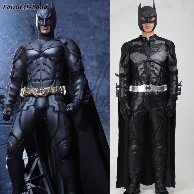 Batman Knight Rises Batman cosplay costume Bruce Wayne Supereroe costumi di Carnevale Halloween batman costume adulto su ordine