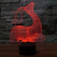 Lovely Sika Deer 3D Light LED Colorful Change USB Desk Table Lamp Sitting Room 3D Night