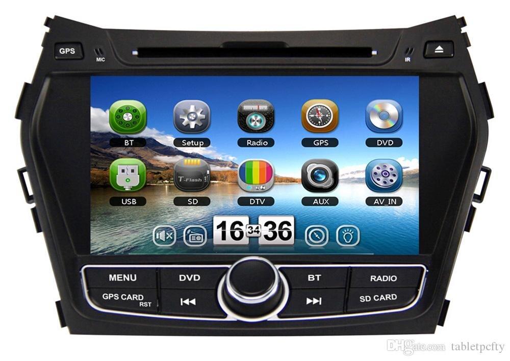 8 Car DVD player with GPS(opt),audio Radio stereo,USB/SD,AUX,BT/TV,car multimedia headunit for Hyundai IX45/SANTA FE 2013 2014