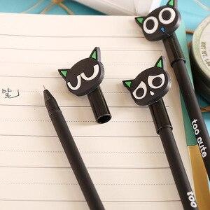 Image 3 - Jonvon satone 40 pçs por atacado dos desenhos animados gato preto caneta neutra 0.38mm preto gel de carbono canetas caneta fonte escritório suprimentos criativos