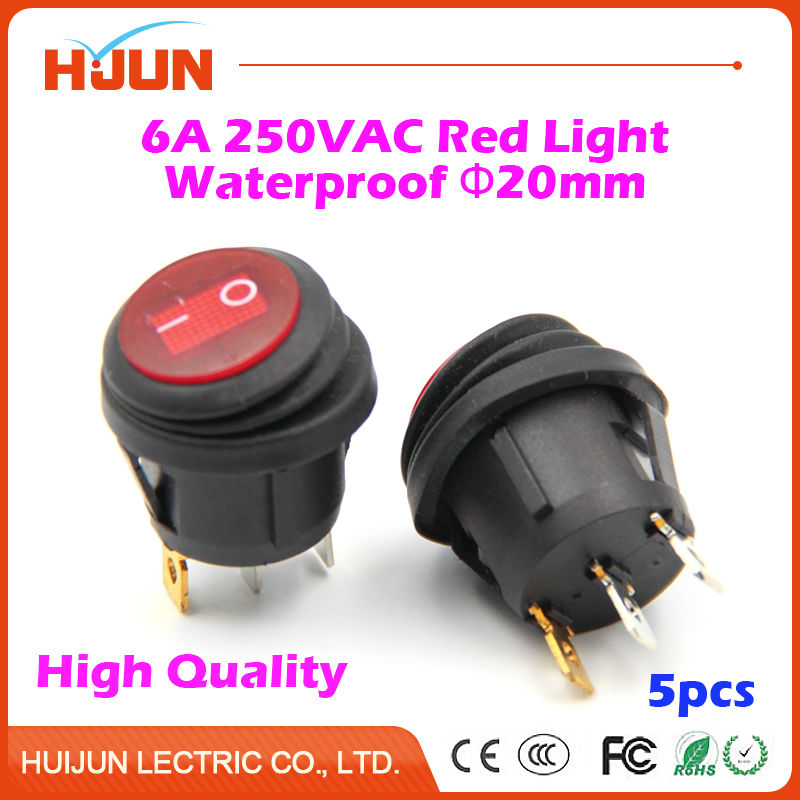 5pcs 3Pin 20mm On-Off-On SPST Round Copper Boat Rocker Switch Waterproof Cap Red LED Light 6A 250VAC Car Dash Dashboard Truck RV on the open shanghai wing star ship switch kcd6 21n f ip65 waterproof switch 6a 4 foot red 220v
