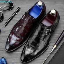 QYFCIOUFU New Double Monk Strap Shoes Footwear Bespoke Genuine Leather Oxford Dress For Men Wedding Buckle Crocodile