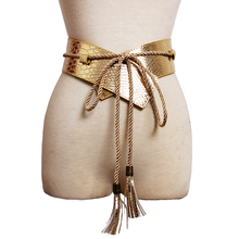 Hot Fashion brand desgin wide Leather Belts for women dress female long tassel strap Gold casual waistband Woman High quality fluffy synthetic lolita curly flax mixed gold long side bang capless cosplay wig for women