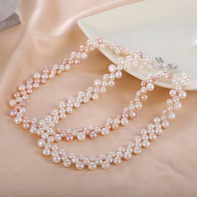 OSHUER haute qualité nouveau style collier de perles d'eau douce mode ronde colliers de perles trois rangées de colliers de chaîne en gros