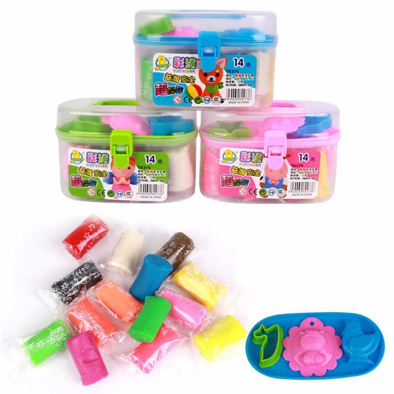 """14 цветов глина """"сделай сам"""" инструмент для работы с глиной наборы легкий игровой тесто полимерные детские игрушки мягкая глина воздух сухой фимо масса для лепки хранение детских игрушек коробка"""