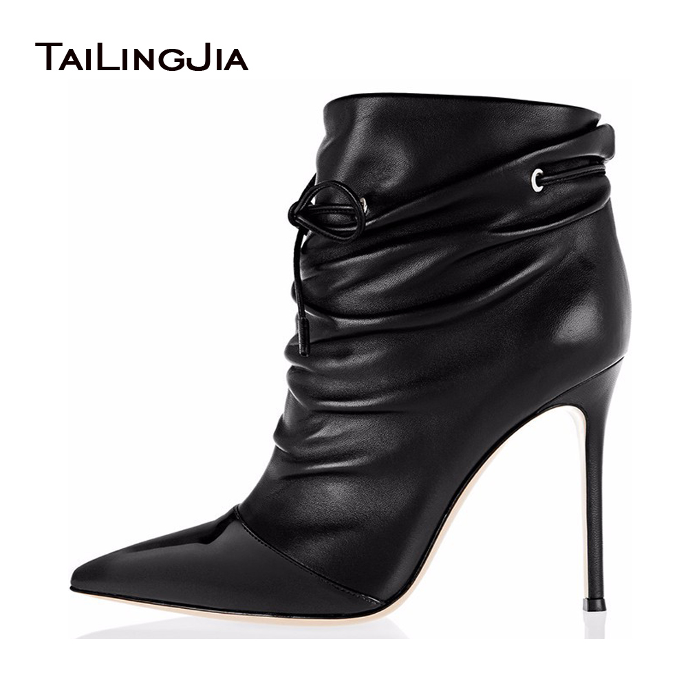 Ladies Boots 2017 Pointed Toe Lace-Up Black Slouch Ankle Boots For Women Plus Size Stiletto Heel Autumn Fall Shoes US 4-15.5 free shipping 2015 women s fashion pointed toe with lace up genuine leather ankle boots larger size us 4 19