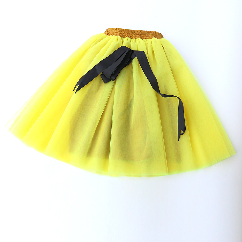 Custom Made Fashion 7 Layers yellow Tulle Skirt Bow Vintage Tutu Pleated Skirts Womens Lolita Petticoat falda Mujer saia jupe