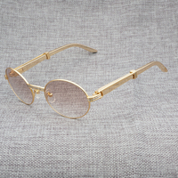 Luxury Golded Sunglasses Men Round Stainless Steel Sun Glasses Shades For Club Driving Clear Glasses Metal Frame Oculos Goggles