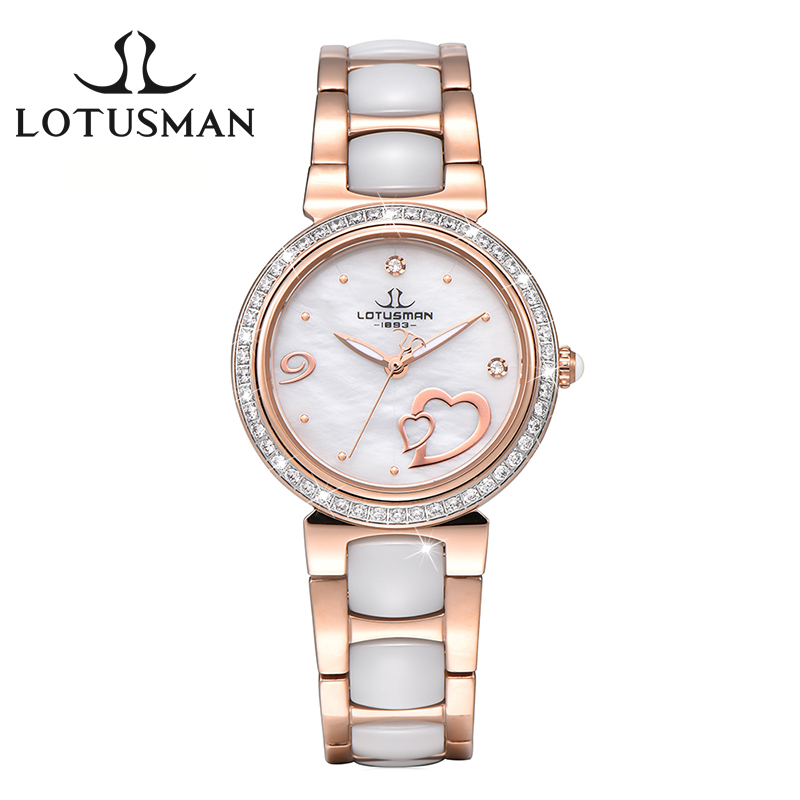 Luxury LotusmaN  Brand Women Watch Fashion Ceramic Strap Dress Watch Diamond Quartz-Watch relogio feminino montre femme L903 fashion sunglasses women diamond luxury brand design sun glasses female mirrored lens oculos de sol feminino