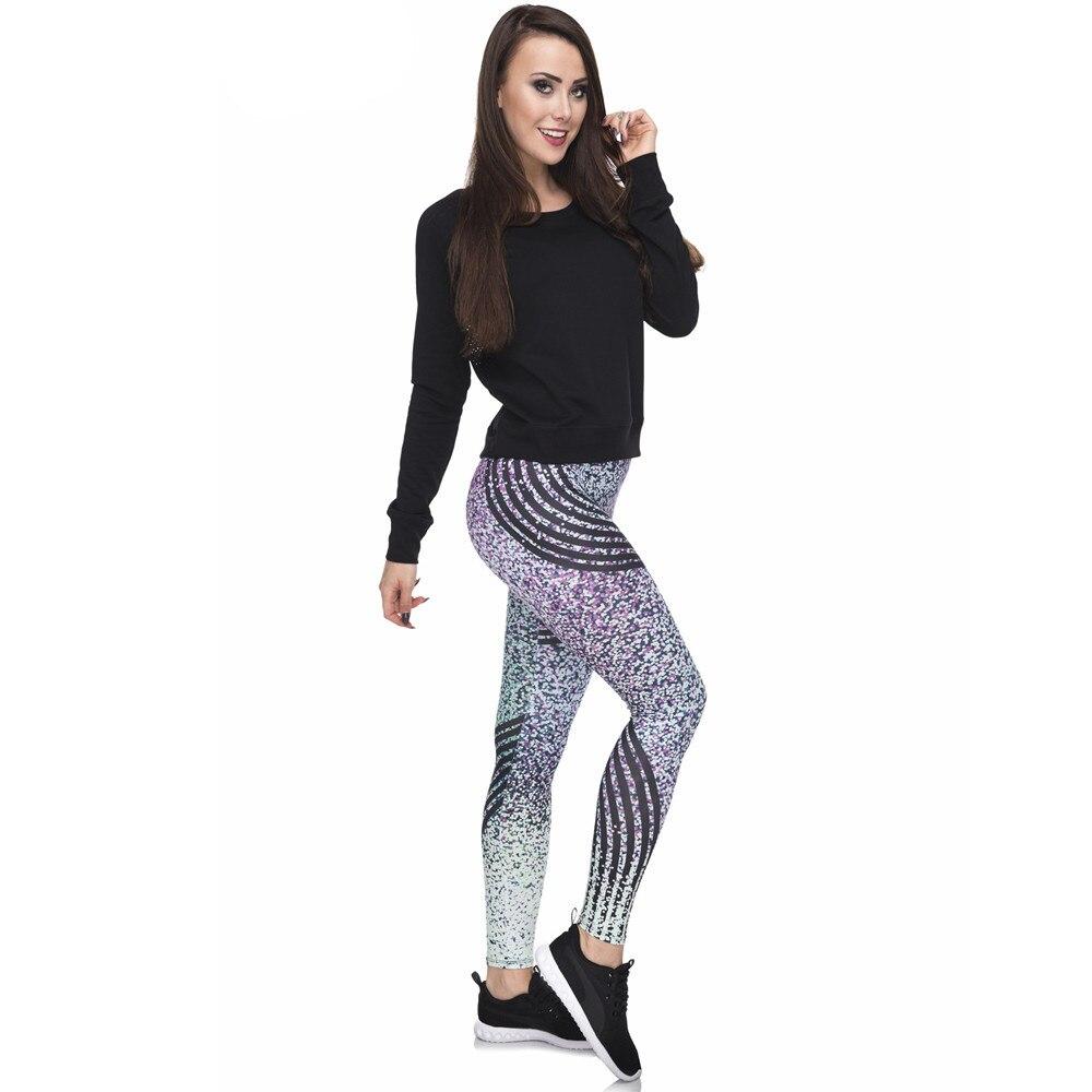Fccexio Women Gym Leggings High Waist Fitness Legging Glitter Stripes Print Leggins Female Pants Workout Leggings Slim Trousers