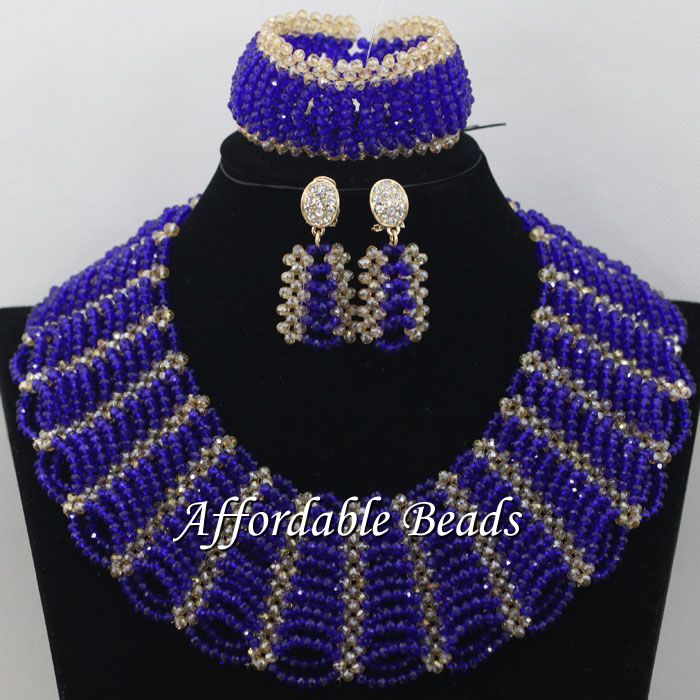 Gold Gray African Costume Jewelry Set Pretty Wedding Beads Set Handmade Item Wholesale Free Shipping NCD036 - 5
