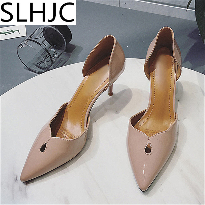 SLHJC Summer Autumn High Heel Pumps Pointed Toe Thin Heel Leather Sandals Sexy Shallow Mouth Slip On Shoes