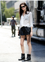 Free shipping,Genuine leather women sexy shorts.fashion 100% sheepskin loose black quality shorts,classics