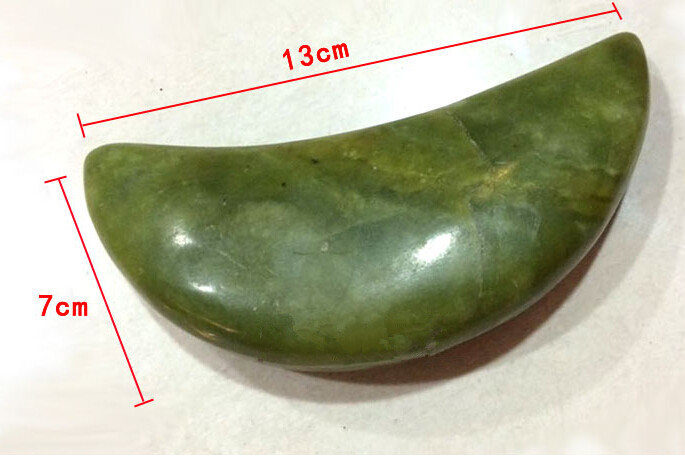 handmade craved natural green stone moon shape stone massage tool
