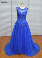 Real Photo Ball Gown Scoop Royal Blue Tulle Royal Blue Beaded Sweep Train Quinceanera Dresses Prom