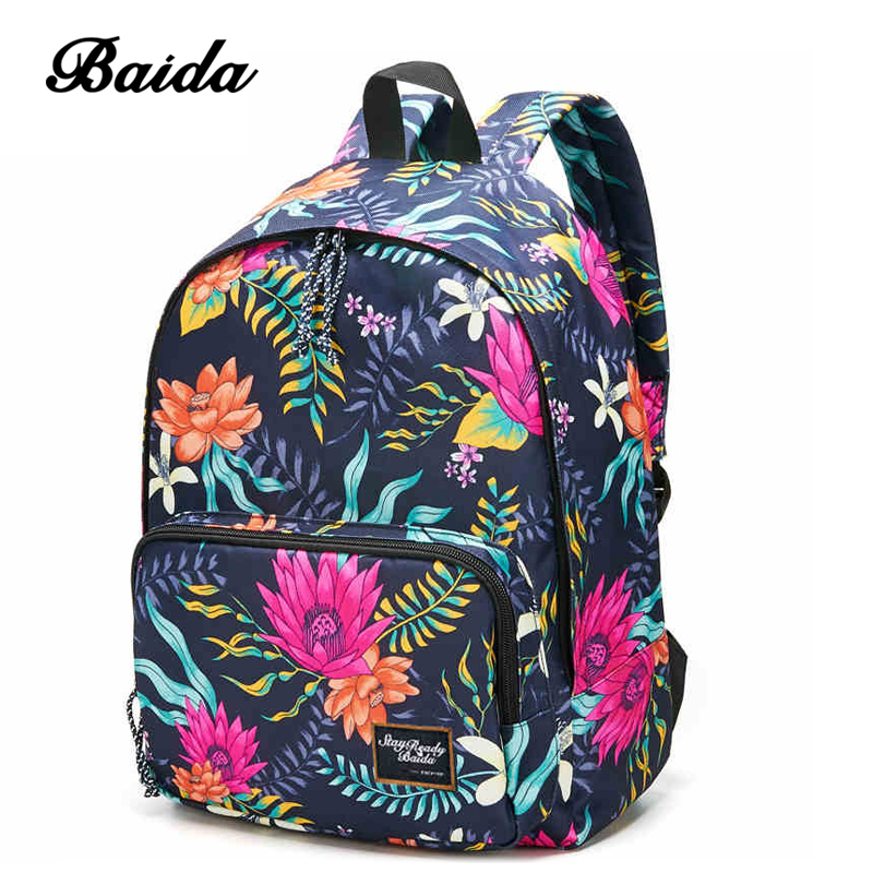 Water Lily Printing Girls Backpacks Cool Rope Zipper Daypack Bags font b Best b font Online