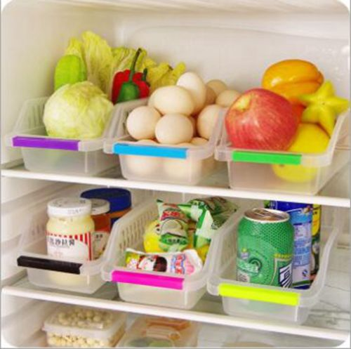 Cans 2x Fridge Plastic Refrigerator Set Organiser Storage Fruit Clear Veg Holder
